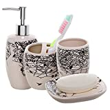 Designer Bathroom Accessories 4 Piece Beige Ceramic Bathroom Accessories Set / Toothbrush Holder, Lotion Dispenser, Soap Dish & Tumbler