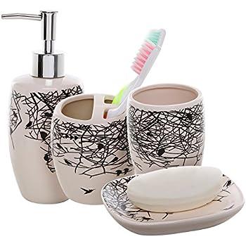 Amazon Com Piece Beige Ceramic Bathroom Accessories Set