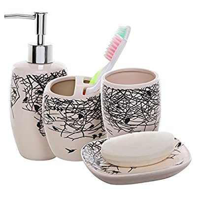 MyGift 4 Piece Beige Ceramic Bathroom Accessories Set/Toothbrush Holder, Lotion Dispenser, Soap Dish & Tumbler - Stylize your bathroom with modern silhouette bird and branch graphics with this 4-piece ceramic set of bathroom accessories. Features a black-and-white bird and branch design on 1 toothbrush holder, 1 soap / lotion dispenser, 1 soap dish, and 1 tumbler cup. Perfect as a housewarming or wedding gift to fully and fashionably stock any bathroom. - bathroom-accessory-sets, bathroom-accessories, bathroom - 51ZOosQW3kL. SS400  -