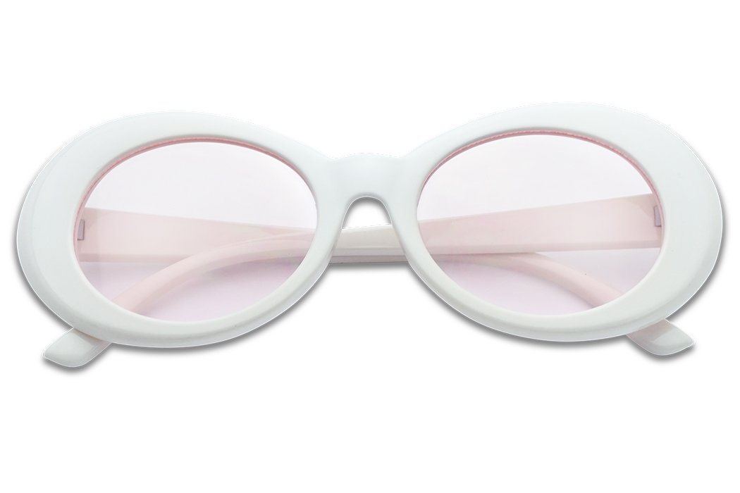 Colorful Oval Kurt Cobain Inspired Mod Round Pop Fashion Sunglasses (White, Pink) by SunglassUP