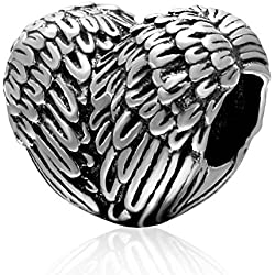Choruslove Angelic Feather Charm 925 Sterling Silver Angel Wing Heart Bead Fits European Valentines Bracelet