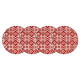 Q Squared Talavera in Roja BPA-Free Melamine Appetizer Plate, 5-1/2-Inches, Set of 4, Red and White