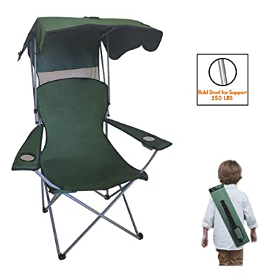 Camping Chairs for Kids, Portable Kid Quad Chair Folding Recliner Lawn Chair with Shade and Cup Holder Outdoor Events,Support 350 LBS: Sports & Outdoors