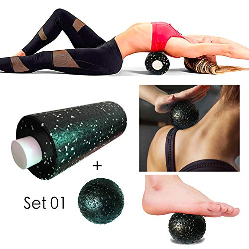 The Body Yoga Foam Roller with Massage Single Ball Set, Two in One with Honeycomb Pattern on Surface High Density Foam Roller Massage for Deep Tissue Massage of TheNeck Back Leg Arm Feet Muscles