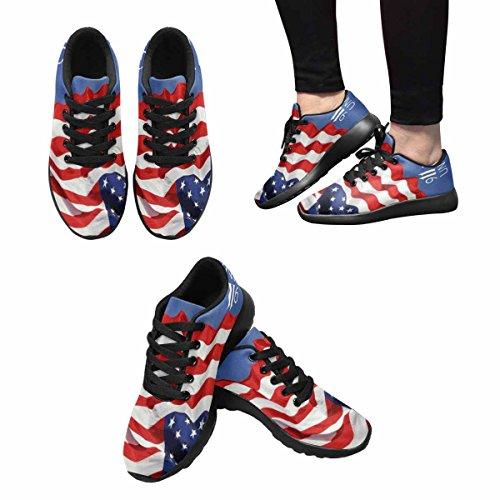 Scarpa Da Jogging Leggera Da Donna Running Running Leggera Easy Go Walking Comfort Sport Scarpe Da Atletica Bandiera Degli Stati Uniti Con 9 11 Multi 1
