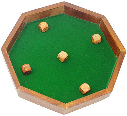 SKAVIJ Wooden Handmade Octagon Dice Game Rolling Tray Any Dice Accessories Set, D&D(Dnd), RPG, Yahtzee, Farkle, Bunco Board Games by SKAVIJ