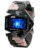 Auspicious beginning Children's novelty waterproof LED Military plane design digital sports watch, pink