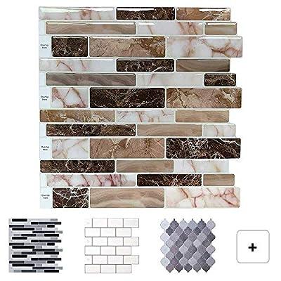 LONGKING Peel and Stick Tile Backsplash for Kitchen, Stick on Decorative Tiles (10 Tiles)