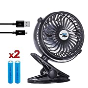Stroller Clip Fan - USB Rechargeable, Clip on Fan, 360° rotation - Black, by Eazyclips