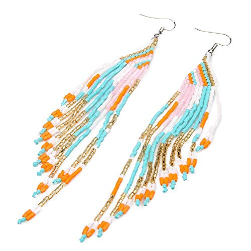 Fashion Long Tassels Earrings for Women | Ethnic Seed Beads Charms | Jewelry Friend Gift (C)