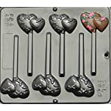 Double Heart with Flowers Lollipop Chocolate Candy Mold Valentines Day 3046