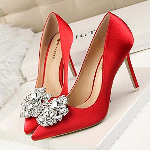 Escarpins en Satin Femme,Overdose Été Sandales Pointues à Talon Hauts Sexy Chaussures de Mariage Ornementées Wedding High Heels Rouge