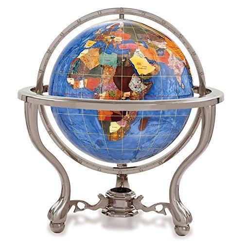 KALIFANO 4 Gemstone Globe w/ Marine Blue Opalite Ocean & Ant