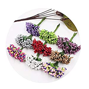 DraFenn 12Pcs/Lot Handcraft Artificial Flowers Stamen Sugar Wedding Party Decoration DIY Wreath Gift Fake Flowers 92