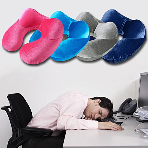 Cozy Velvet Inflatable Neck Pillow by ETRAVEL (Luxury Blue) - 5% of all proceeds donated to help end sexual assault on college campuses by ETRAVEL (Image #2)
