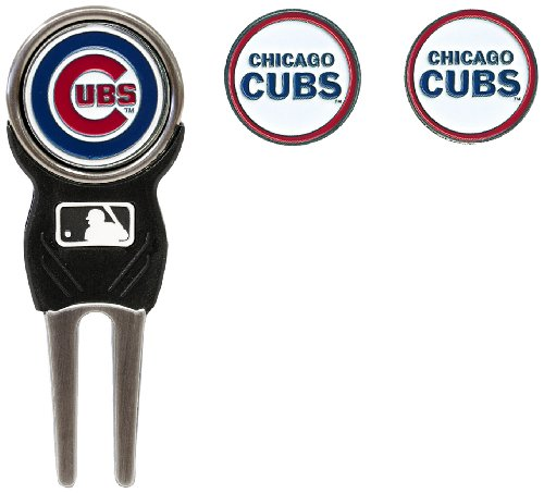 Team Golf MLB Chicago Cubs Divot Tool with 3 Golf Ball Markers Pack, Markers are Removable Magnetic Double-Sided Enamel (Chicago Cubs Golf)