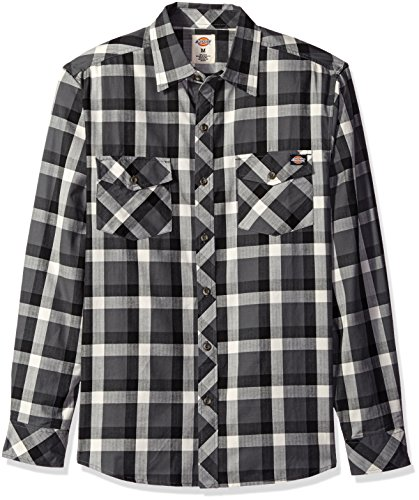 Dickies Men's Regular Fit Long Sleeve Herringbone Plaid Shirt, Charcoal/Black, 4XL ()