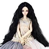 Long Kinky Curly 9-10inch 1/3 BJD MSD DOD Dollfie Doll Hair Wig Centre Parting Hair Accessories Not for Human (Jet black)