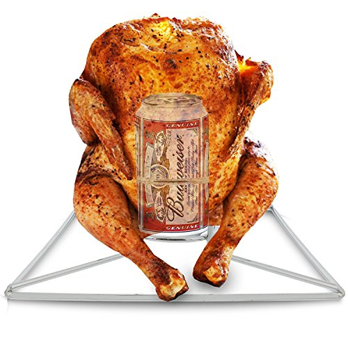 BBQ Beer Can Chicken Roaster Rack For Oven or Grill, 12 Ounce Beer Can Holder