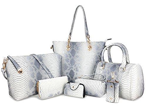 Hoxis Pack of 7 Bags Women Multi-purpose Classic Design Patent Purse Leather Leatherette Shoulder Handbag (Light Color Snake Pattern)