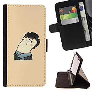 Jordan Colourful Shop - Funny Curly Hair Man For HTC DESIRE 816 - < Leather Case Absorci????n cubierta de la caja de alto impacto > -
