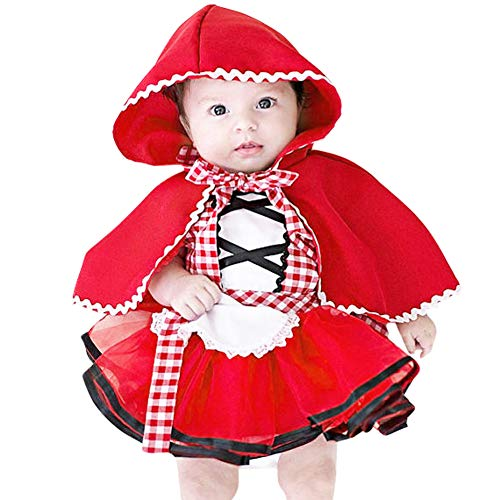 Infants Little Red Riding Hood Maid Costume for Baby Girl Tutu Dress Hooded Cloak Outfit Size 0-6 Months -