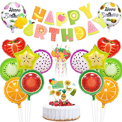 Birthday Fruit Cake - Tutti Frutti Party Decorations Fruit Happy Birthday Banner Paper Straws Cake Topper Foil Balloons for Fruity Party Supplies