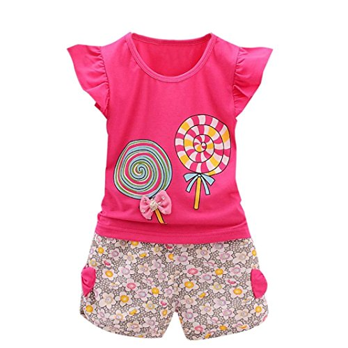 G-real Toddler Baby Girls Cute Cartoon Lolly Bow T-Shirt Ruffle Tops+Floral Shorts 2pcs Outfits For 1-4T (Hot Pink, 18M) Bow Girls T-shirt