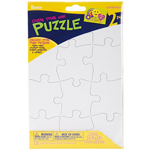 Darice PUZ100 12-Piece Puzzle to Color Set, 51/2 by -