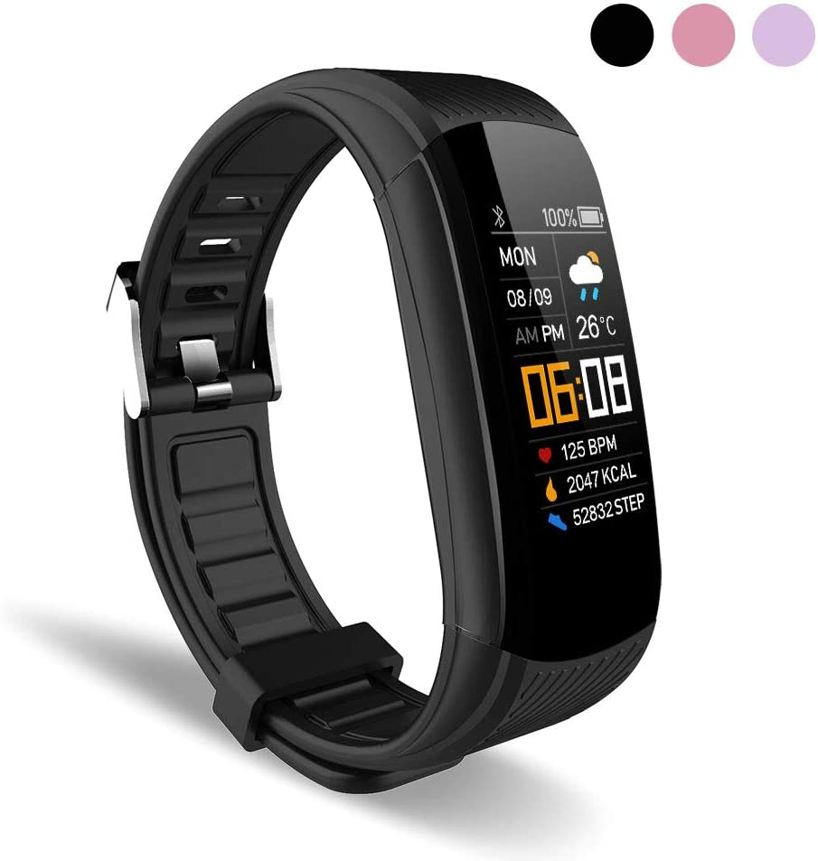 WalkerFit Fitness Tracker for Men, Fitness Watch with Heart Monitor, Black