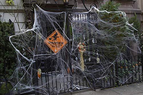 RUILUL Halloween Fake Spider Web Indoor & Outdoor