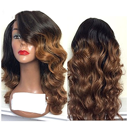 Doubleleafwig Body Wave Human Hair Lace Front Wigs 130% Density Brazilian Virgin Full Lace Wig with Baby Hair for Black Women 1B Ombre #4 Color (20 Inch, Lace Front Wig) by Doubleleafwig (Image #2)