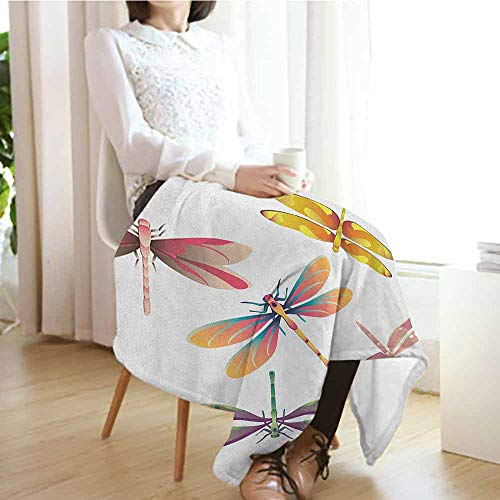 Dragonfly Custom Sofa Bed Throw Blanket,Five Spiritual Bugs in Modern  Abstract Pattern Natural Beauty Artistic Motif Microfiber All Season  Blanket for