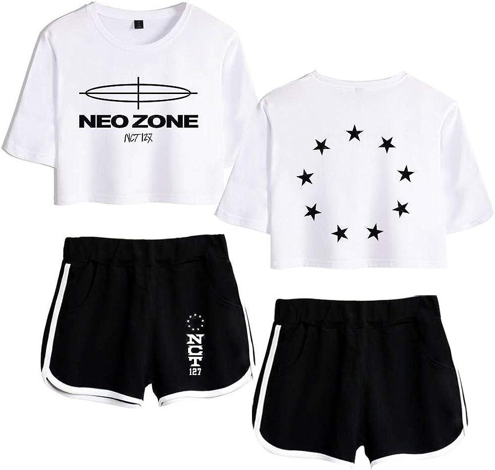 NCT127 T-Shirts und Hosen Set NeoZone Sportswear-Sets f/ür Damen Top /& Kurze H/öschen Bekleidungssets Sportbekleidung Freizeitkleidung Blusen T-Shirt
