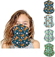 Fenbory 4 Pack Kids Neck Gaiters UV Protection Half Face Mask Breathable Mouth Cover Balaclava Outdoor Scarf H
