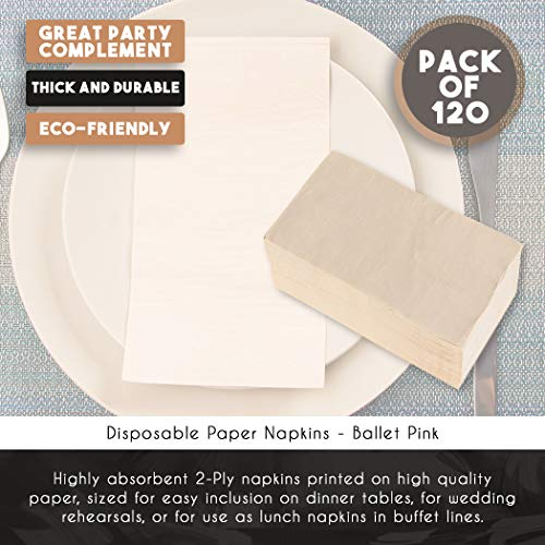 Paper Dinner Napkins - 120-Pack Disposable Napkins, 2-Ply Absorbent Napkins for Everyday Kitchen, Dining, Events, Parties, Ballet Pink, Unfolded 15.5 x 13 Inches, Folded 7.5 x 4.25 Inches by Blue Panda (Image #3)