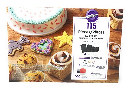 Bakeware 115 Pieces, Baking Pans, Muffin, Cake, and Round Pans, Cookie Cutters, Cups, Spatula, Decorating Bags ()
