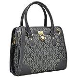 Medium Satchel 2 Pieces Purse Set Designer Handbag Top Handle Shoulder Bag Padlock (Signature8421-Black)