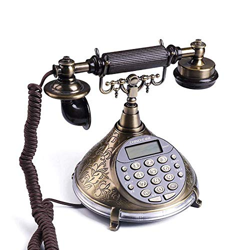 HQCC Retro Style Voice Report Home Phone Landline Telephone Office Fixed Caller ID Cable Seat Fixed Telephone Bronze