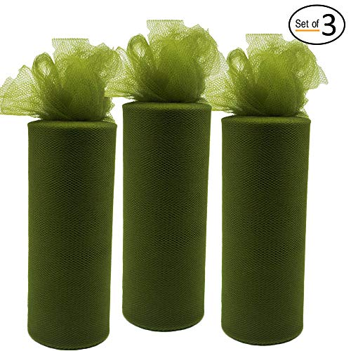 3Pcs Tulle Roll Fabric Spool for Gift Bow Craft Women DIY Tutu Table Skirt Home Decoration Curtain (Olive Green, 6-Inch by 25-Yard)