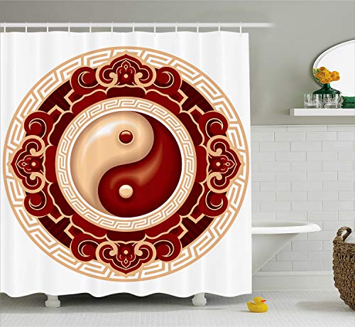 Ambesonne Ying Yang Decor Shower Curtain Set, Traditional Asian Cultural Symbol with Floral Ornamental Patterns Balance Zen, Bathroom Accessories, 69W X 70L Inches, Maroon White