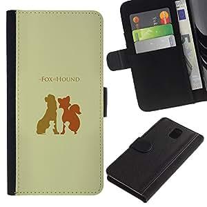 YiPhone /// Tirón de la caja Cartera de cuero con ranuras para tarjetas - Fox Hound - Samsung Galaxy Note 3 III