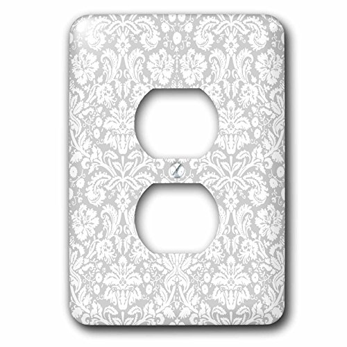 Floral Outlet Cover - 3dRose LLC lsp_151416_6 Silver and White Damask Pattern - Grey Gray - Fancy French Floral Swirls - Stylish Classy Elegant 2 Plug Outlet Cover