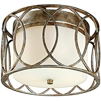 Troy Lighting Sausalito 2 Light Flush Mount   Silver Gold Finish With  Frosted Glass
