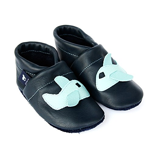 Pantau Leder Krabbelschuhe Lederpuschen Babyschuhe Lauflernschuhe mit Flugzeug, 100% Leder BLAU_HELLBLAU