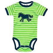 Lazy One Stripes with Horse Applique-Horse Infant Onesie Creeper by