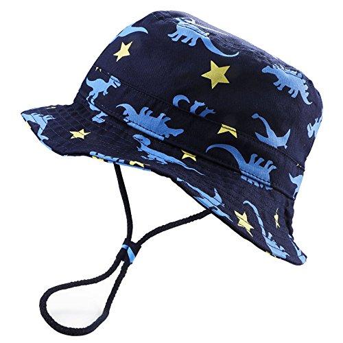 new HOYMN Baby Boys' Dinosaur Sun Hats with Chin Strap & Caps Navy Dino 1-8T