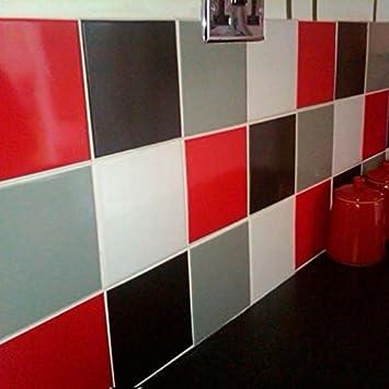 Sticker Carrelage de Décoration Rouge et Noir (Pack avec 32) (15 x ...