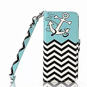 LX Anchor Pattern Full Body Case with Stand for iPhone 5/5S
