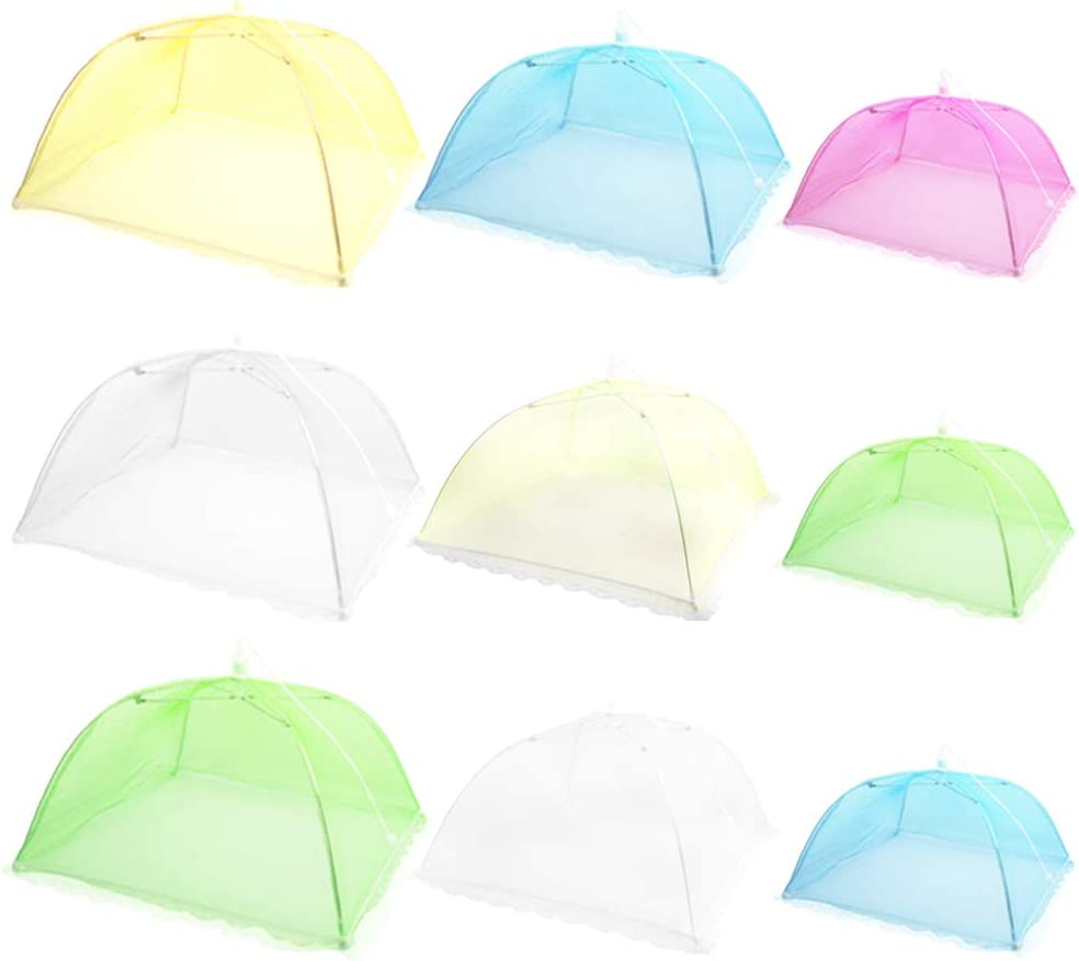 SENHAI 9 Pack Food Cover Tents, Pop-Up Vegetable Mesh Cover, for Keep Out Flies, Picnic, Camping, Barbecue, Green Plant Protection, Reusable and Collapsible - 3 Sizes